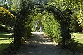 PEOPLE WALKING UNDER GARDEN ARCHWAY,  WEST DEAN GARDENS,  SUSSEX.