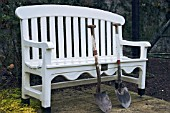 WHITE GARDEN SEAT WITH SHOVELS