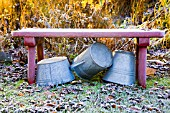 ZINC TUBS UNDER FROSTY BENCH