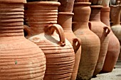 CLAY JARS ON DISPLAY AT A MARKET IN LEBANON
