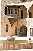 TRADITIONAL FOUNTAIN AND BASIN IN COURTYARD OF BEIT ED DINE PALACE, LEBANON