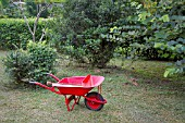 RED METAL WHEELBARROW