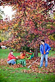 FAMILY ENJOYING CLEARING LEAVES FROM BENEATH TREE