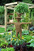WICKER MAN IN VEGETABLE BORDER,  SUTTONS GROWING FOR HEALTH GARDEN AT TATTON PARK 2007 DESIGNED BY KEVIN AND SUZANNE DUNNE