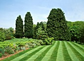 COUNTRY GARDEN WITH FRESHLY CUT LAWN STRIPES.