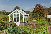 OLD STYLE SMALL WHITE WOODEN GREENHOUSE