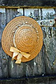 STRAW SUN HAT, OLD SHED DOOR