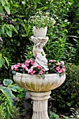 EUPHORBIA HYPERICIFOLIA DIAMOND FROST, IMPATIENS WALLERIANA, IN A FOUNTAIN. DESIGN: MARIANNE AND DETLEF LUEDKE
