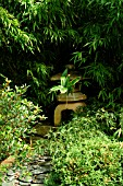 SCENE IN JAPANESE GARDEN AT STAPEHILL ABBEY,  DORSET,  SEPTEMBER