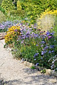 SCENE IN THE PICTON GARDEN,  OLD COURT NURSERIES,  (NATIONAL COLLECTION OF AUTUMN FLOWERING ASTERS),  COLWALL,  MALVERN,  WORCESTERSHIRE: SEPT.