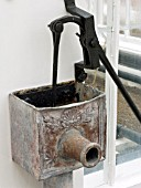 VICTORIAN DECORATED LEAD LIFT PUMP AND SPOUT