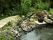 POND WITH WATERFALL SHOWING LINER AND PEBBLES