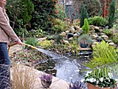 LADY TOPPING UP GARDEN POND WITH HOSEPIPE