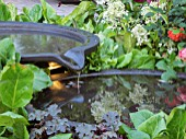 BACCHUS GARDEN  DESIGNED BY JEAN WARDROP (WARDROP DESIGNS) SILVER MEDAL WINNER WITH A THREE TIER WATER FEATURE AND GRAPE VINES.